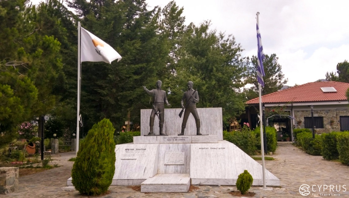 A monument with statues of the two heroes, Christos Tsiartas and Andreas Panayiotou, who were part of the EOKA forces' national struggle against English troops